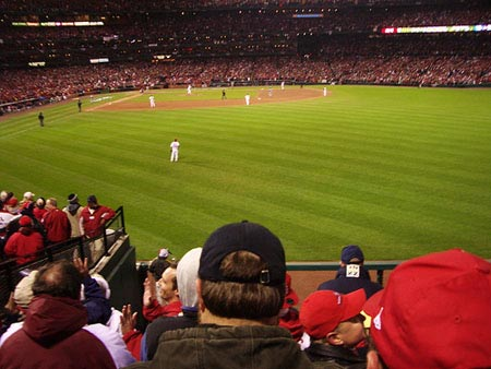 St. Louis playing in Game 7 of the 2006 World Series vs. the Detroit Tigers.