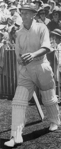 Bradman walking out to bat in the Third Test against England.