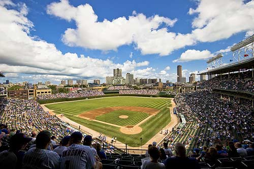 A panoramic view of Wrigley Field.