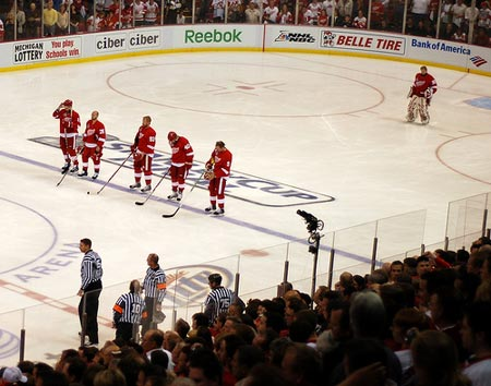 Detroit Red Wings starting lineup for game 1 of the 2009 Stanley Cup Finals