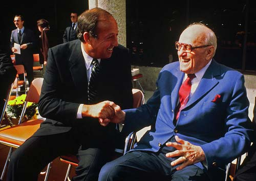 George Halas (right) in the early 1980s.