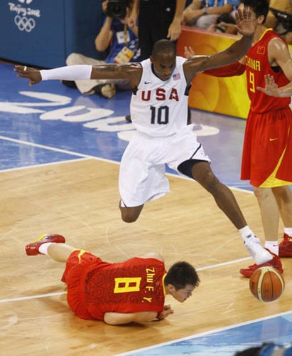Bryant in a game against China at the 2008 Summer Olympics.