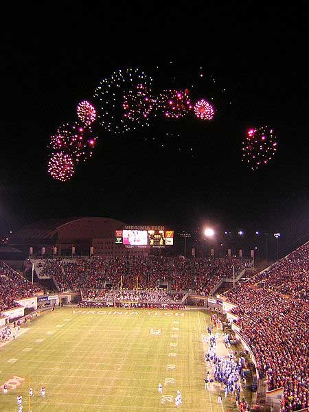 Fireworks over Virginia Tech's Lane Stadium.