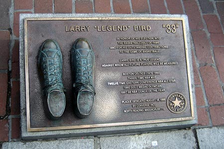 Boston Faneuil Hall Larry Bird plaque.