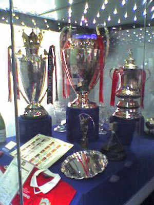 The Treble trophies – the Premier League, Champions League and FA Cup.