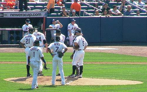 New York Mets Conference on the pitching mound