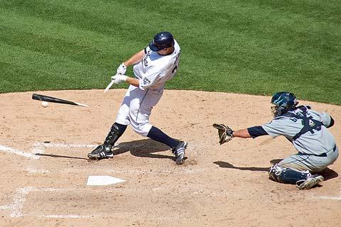 Russell Branyan broken bat.