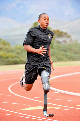 Sgt. Jerrod Fields, a U.S. Army World Class Athlete Program Paralympic sprinter.