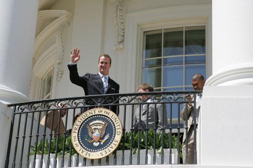 peyton manning at white house after superbowl XLI
