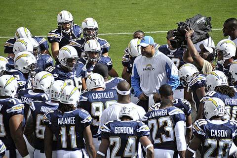 Shawne Merriman fires up the team.