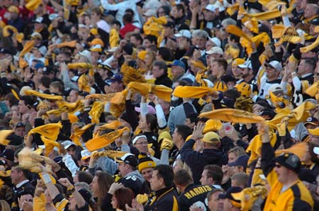 Fans cheer loudly after a big play for the Steelers.