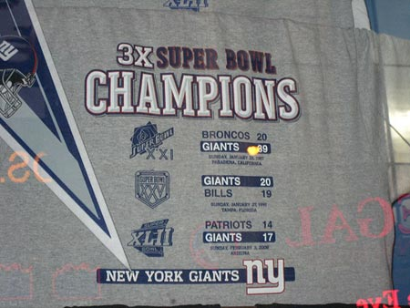 Super Bowl Champions New York Giants.