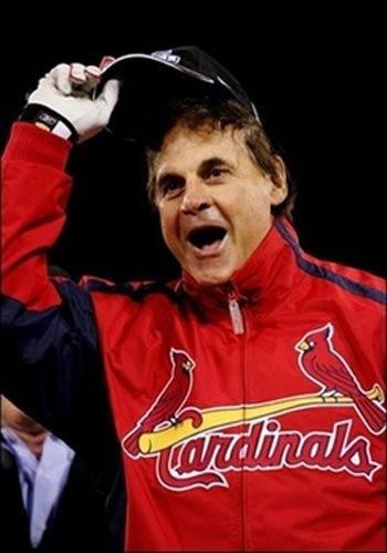 Tony Larussa wears a BIG world series winning smile.