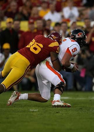 Defensive end Lawrence Jackson #96 of the USC Trojans .